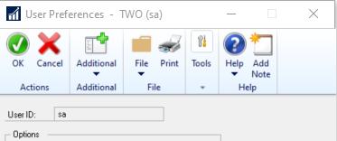 User Preference Window