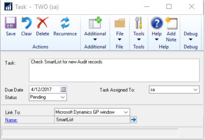 Microsoft Dynamics GP Tasks