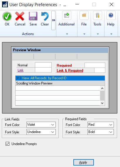 User Display Preferences