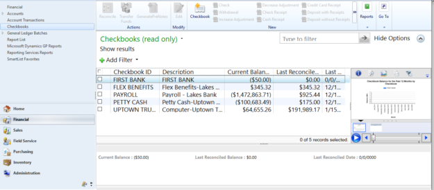 list of Checkbooks in Dynamics GP for the company