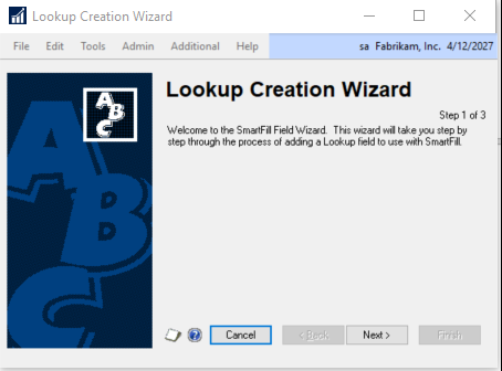 Lookup creation wizard in Dynamics GP